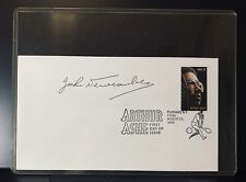 John Newcombe signature, authenticated, Arthur Ashe envelope, stamp, tennis