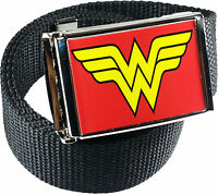 Wonder Woman Logo Belt Buckle Bottle Opener Adjustable Web Belt