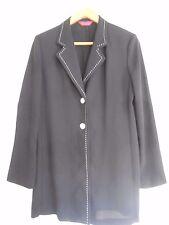 Richards Black Jacket, Revere Collar, Long Sleeves, White Stitching, Size 12