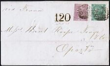 1866 SG97 6d Lilac Pl 5 TG and SG101 1/- Pl 4 SL London to Oporto Cat. £515.00