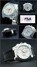 "Fila Chronograph "" Combi "" Men's Watch,Stainless Steel,Silver Face,Leather Band"