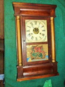 Seth Thomas Empire  Weight Shelf Mantle Clock Painted Glass Pillars