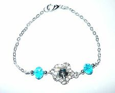 TWINKLE STAR - pretty fine chain bracelet with a sparkly star & aqua link centre