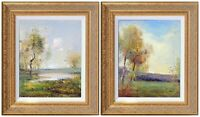 Oil Painting with French Gold Framed, Country Scene Landscape, J Reneau Signed