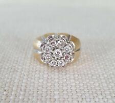 Mens 14k YG Diamond Cluster Ring .92 ct