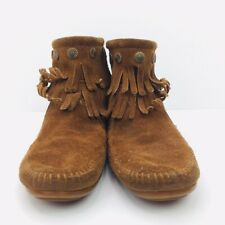 Minnetonka 693 Womens Brown Suede Double Fringe Boot Moccasins Size 6