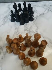 Vintage Wooden Chess Piece Lot Crafting Decoration