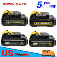 4 Pack New 12V MAX 2.0AH Lithium Replacement Battery for DeWalt XR DCB120 DCB127