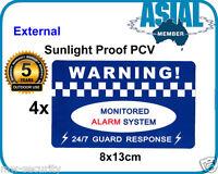 4 HEAVY DUTY PVC Vinyl Warning Sign Alarm External Security Sticker Home Office