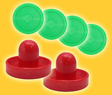 "2 Air Hockey Pushers-Red/Green Felt & 4 Round 2-1/2"" Green Pucks - Table Hockey"