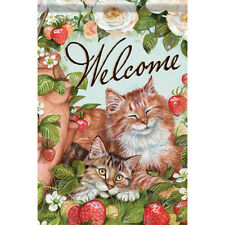 Welcome Cute cat and strawberry Garden Flag Double-sided House Decor Banner