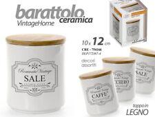 Set 3 barattoli ceramica tappo in legno sale zucchero caffè 10*12 CRE 754166 M
