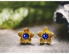 UK 925 Sterling Silver Blue Flower Stud Earrings Jewelry Women Natural Handmade