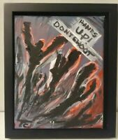 """HANDS UP DONT SHOOT"" 8x10 EXPRESSIONISM ART -TOMMY CARRASCO ORIGINAL PAINTING"