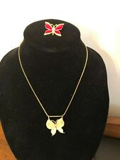 Two Butterfly Jewelry Items Necklace and Brooch From Estate