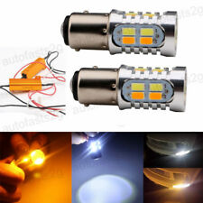 2x 20W Amber White Dual Color 1157 BAY15D LED Light Bulbs Switchback Turn Signal