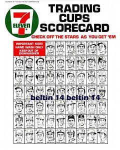 1972 7-11 Baseball Slurpee Cups Scorecard Checklist 7 ELEVEN  Color  8x10