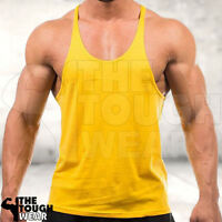 Gym Singlets - Men's Tank Top for Bodybuilding and Fitness - Stringer Yellow