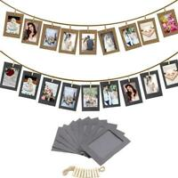 10x DIY Paper Photo Wall Hanging Picture Photo Frame Album Rope Clip Rome Decor