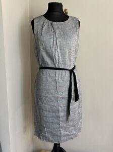 Jigsaw Dress Size 14 Grey Metallic A-Line With Tie Waist Knee Length Business