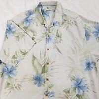 TOMMY BAHAMA MENS CASUAL HAWAIIAN TIKI CAMP SHIRT TAN BLUE FLORAL 100% SILK XL