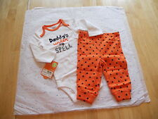 CARTER'S BABY GIRLS HALLOWEEN OUTFIT DADDY'S UNDER MY SPELL KITTY CAT NWT