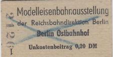 billet d'entrée modelleisenbahnausstel. D.reichsbahn-direktion berl. 1951
