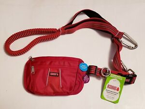 New KONG Reflective Red Hands Free Dog Leash w/ Removable Padded Carry Pouch