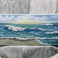 "Art18""/9""oil painting, Seascape,sunset,waves,surf,beach, evening, landscape"