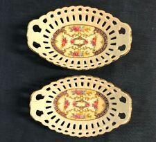 German Porcelain Trinket Dishes Set of 2 Basket Weave Gold Rim Jewelry Gift