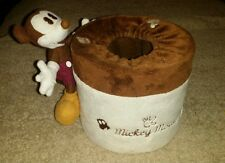 Disney mickey mouse tissue holder round. Brown and white