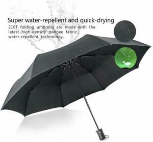 Black Auto Open & Close Windproof Travel Umbrella Compact Folding Mens Womens