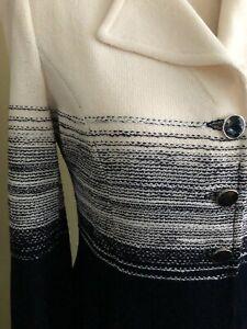 ST. JOHN NWT Navy Bright White Dress Suit Size 8 Chanel-like elegance 80% off