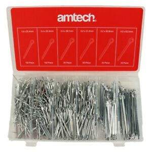 AMTECH SPLIT PIN SET Assorted Cotter Pieces Small Sizes 500Pc Workshop Fixings