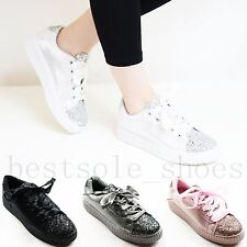 WOMEN LADIES GLITTER FLATS PLIMSOLLS WEDGE CHUNKY LACE UP TRAINERS CREEPERS SIZE