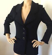 NWT St John Knit jacket size 16 Navy Blue santana knit fringe