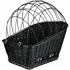 Rear Mounted Bike Basket Small Dogs Portective Mesh Wicker Cushion Stable
