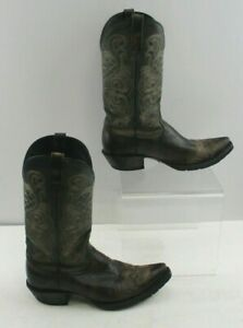 Ladies Ariat Brown Leather With Embroidered Detail Cowgirl Boots Size: 8.5 B