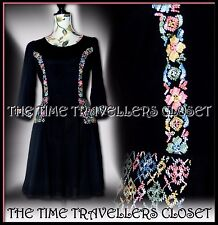 BNWT Kate Moss Topshop Black Pink Blue Embroidered Vintage Folk Mini Dress UK 10