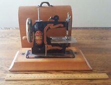 Vintage Germany MINI CHILD'S SEWING MACHINE TOY CAST IRON w/ Original Wood Case