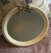 Shabby Chic Wall Mounted Oval Painted Mirror With Bow Detail Grey or White 7422 White