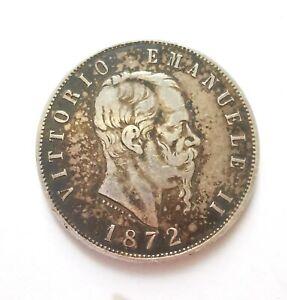 PIECE 5 LIRES ARGENT ITALIE VITTORIO EMANUELE II  1872