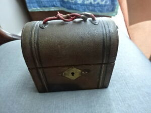 Vintage Antique Travelling Leather Domed Perfume Case with two Glass Bottles