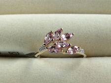 Rarest Brazilian Imperial Pink Topaz & Diamond 10K Yellow Gold Ring Size R-S/9