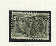 CANADA-#100-ISSUE OF 1908- 7 c-OLIVE GREEN--FINE-USED-