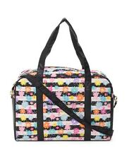 LUV BETSEY Johnson Quilted Cotton Black Floral Weekender Travel Gym Bag NWT