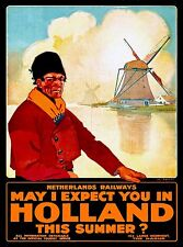 Holland This Summer Netherlands Railways Europe Travel Art Poster Advertisement