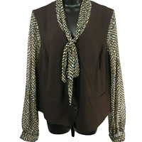 NWT Kim Rogers Brown Blue & White Sheer Sleeve Button Front Jacket Women's 22W