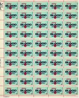 SCOTT# 1425 - GIVING BLOOD SAVES LIVES - Full Pane 50 X 6 Cents Stamps Sheet MNH