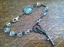 Sterling Silver & Glass Charm Bracelet 5th Commandment Medal Virgin Mary Vintage